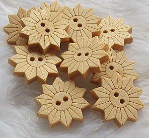 Botão de Madeira Girassol - 18 mm - (Pacote com 10 botões)