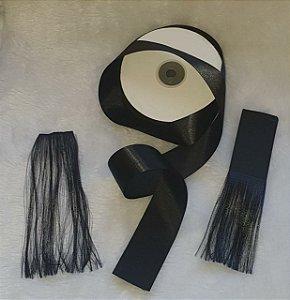 Fita de Cetim face simples - 38mm - PRETA - venda por metro - Ideal para fazer cabelo de amigurumi.