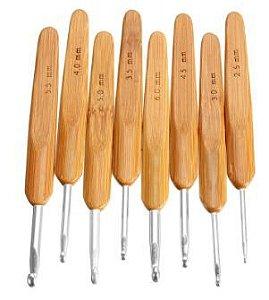 Kit com 8 agulhas de croche cabo de Bambu -  2.5mm /3.0mm/3.5mm/4.0mm/4.5mm/5.0mm/5.5mm/6.0mm -
