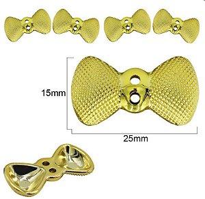Botão Laço dourado com dois furos - 15mm x  25mm - embalagem com 3 unidades