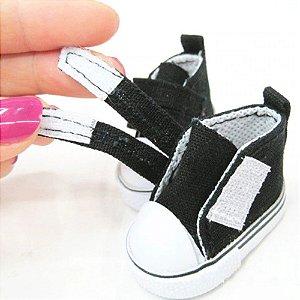 Tênis para boneca com velcro - 5cm - preto - 1 Par de tênis