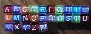Passante Dadinho Colorido com Letras (Tamanho 6 mm) *Pacote com 90 gramas*