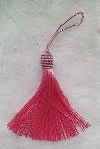Tassel - Pingente Pompom com Tulipa - 9cm *Rosa Médio* (venda por unidade)