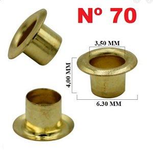 Ilhós de latão - Nº 70 - 6mm - Pacote com 120 gramas (1000 peças) Cores: Dourado e Grafite