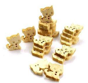 Botão de Madeira Gato Gatinho -Tamanho: 16mm x 16mm *Pacote com 10 botões*