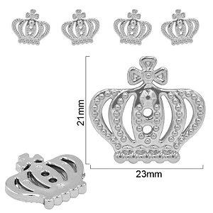 Botão Coroa cromada (prata) com 2 furos para costura- Ref. 9981 - Embalagem com 3 unidades