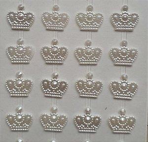 Sticker's - Autocolantes - Coroa  - cor pérola - 12 mm - cartela com 72 coroas