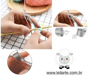 Dedal Guia (Crochê ou Tricô)  - Uso de dois fios simultâneos - 1.9 cm de diâmetro, altura de 1 cm - Aço inox