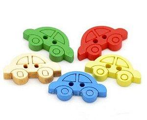 Botão de madeira Carrinho colorido - Pacote com 10 unidades de cores variadas - 19mm