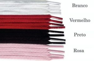 Cadarço redondo (roliço) - 50 cm - Cores: Branco, Preto, Rosa Bebe, Vermelho