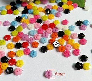 Micro Botão Flor  - 5 mm - *Pacote com 50 botões de cores variadas*