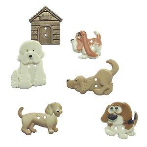 Botões com dois furos cachorros e casinha - Kit com 6 botões - Tamanhos variados