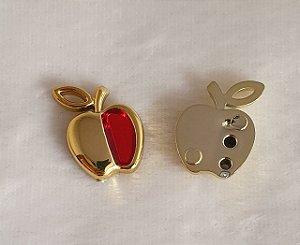 Aplicação ABS com Resina  Maçã Dourada e vermelha - Tamanho: 21mm X 15mm - Embalagem com 6 unidades