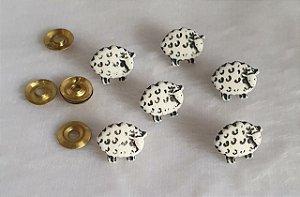 Botão Ovelhinha com rebite - 10mm x 10mm - Embalagem com 6 unidades