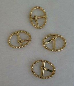 Fivela de metal dourada Oval 17mm x 13mm - Embalagem com 10 unidades