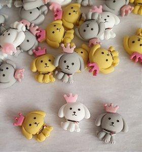 Aplicação (Patch) em resina Cachorro Rei - 19 x 24mm - Cores: Branco, Cinza e amarelo - * embalagem com 2 unidades da cor escolhida*