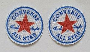 Emblema Termocolante All Star (Estrela) - Azul turquesa com estrela vermelha - Tamanho 23 mm - (Venda por par)