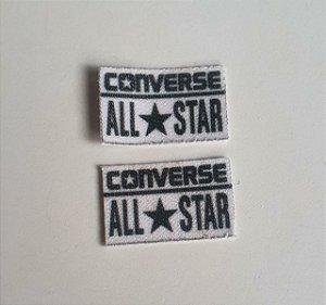Emblema Termocolante All Star (Converse) Branco- Tamanho 22X14 mm (aprox.) - (Venda por par)