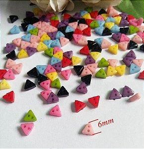 Micro Botão Triângulo Colorido - Plástico - Tamanho 6 mm - (Pacote com 50 unidades)