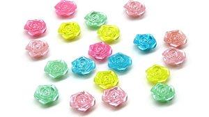 Passante Rosinha neon Irizada- 16mm - Embalagem com 20 rosinhas de cores aleatórias.
