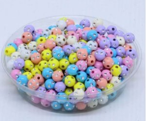Bola com imitação de strass - 8mm -  Colorido tons pasteis - Embalagem com 30 gramas