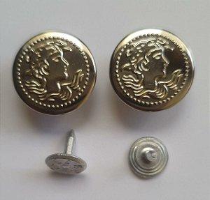 Botão Fixo Eberle 17 mm Prateado- Embalagem com um par