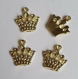 Pingente de metal dourado Coroa de cinco pontas  - 18 x 17mm - Embalagem com 3 unidades