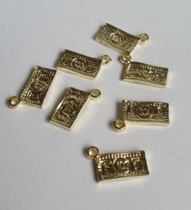 Pingente de Cédula (dinheiro) de Metal dourado   - 17mm d altura - Embalagem com 6 unidades