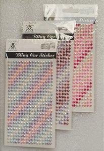 Sticker's - Autocolantes - meia pérola 4mm coloridas - cartela com 442 meia pérolas