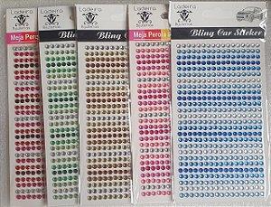 Sticker's - Autocolantes - Cristais  4mm coloridos - cartela com 442 cristais
