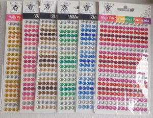 Sticker's - Autocolantes - Cristais  6mm coloridos - cartela com 260 cristais