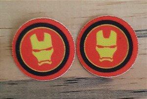 Emblema Termocolante Homem de Ferro -  Tamanho 23 mm - (Venda por par)