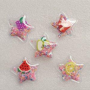 Aplique Estrela com Frutinha e paetê - para colagem -  Venda por Unidade