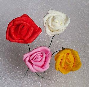 Bouquet de Flor em EVA -  Cores: Branco, Amarelo, Rosa ou Vermelho - *maço com 12 rosinhas* Tamanho médio de cada botão de rosa 23mm