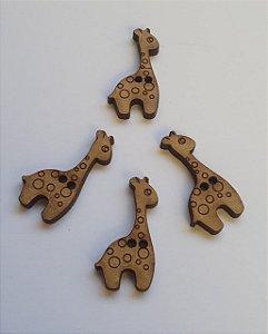 Botão Girafa girafinha - MDF com dois furos, 3mm espessura  - 29mm x 14mm - *Embalagem com 10 unidades*