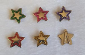 Passante de metal, Passa Fita ou cordão  - Estrela com glitter - 16mm diâmetro - *Embalagem com um par* -