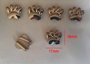Passante de metal, Passa Fita ou cordão  - PATA, PATINHA -  cromado - 14x19mm - Embalagem com um par -