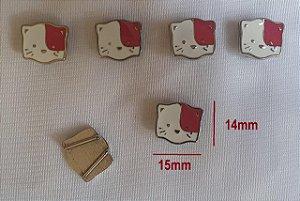 Passante de metal, Passa Fita ou cordão  - Cachorrinho, cãozinho  -  cromado com branco e rosa - 15x14mm - Embalagem com um par -