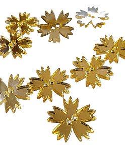 Botão Flor, acrílico espelhado dourado, dois furos - 19mm - Pacote com 10 unidades