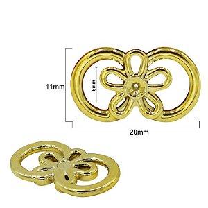 Passa fita ou cordão - Flor - Dourada - ABS -  11 x 20mm - *embalagem com 2 unidades*