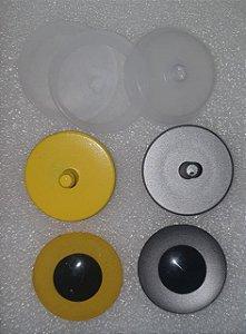 Olho 40mm - Cores: Amarelo ou Prata - *Embalagem com 3 pares e travas*