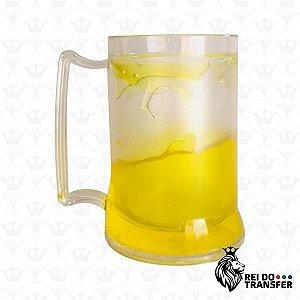Caneca Chopp Acrílico 350 ml Transparente 1 un gel amarelo