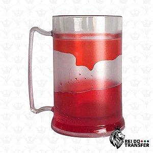 Caneca Chopp Acrílico 350 ml Transparente 1 un gel vermelho