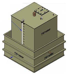 Tanque de armazenamento quadrado com bacia de contenção