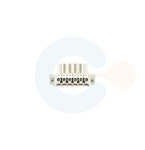 Conector Encaixe Fêmea p/ Cabo 7,00mm 180G com Flange 6 vias Branco