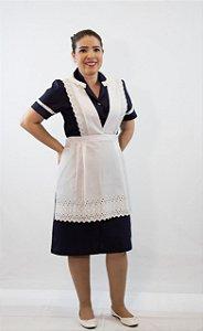 Vestido Copeira com Botão e Avental