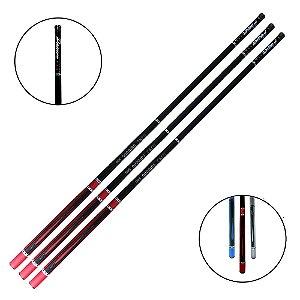 3 Varas de Mão 3,60m 6 Lbs Estampada 100% Fibra de Carbono