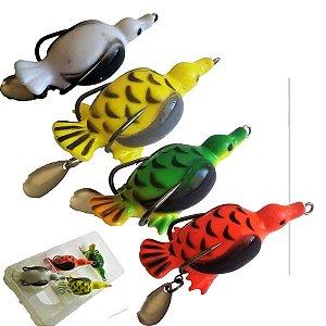 Patinho Isca Artificial Anti Enrosco Pato Frog Kit Isca 4pçs