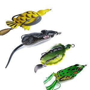 Iscas Artificial Anti Enrosco Patinho+Frog+Tartaruga+Ratinho