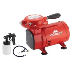 COMPRESSOR AR DIRETO 50PSI BIV + KIT PINTURA WORKER 371629